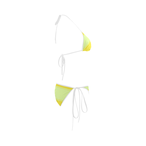 Lightgreen Yellow Ribbon Custom Bikini Swimsuit