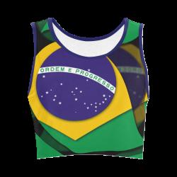 The Flag of Brazil Women's Crop Top (Model T42)
