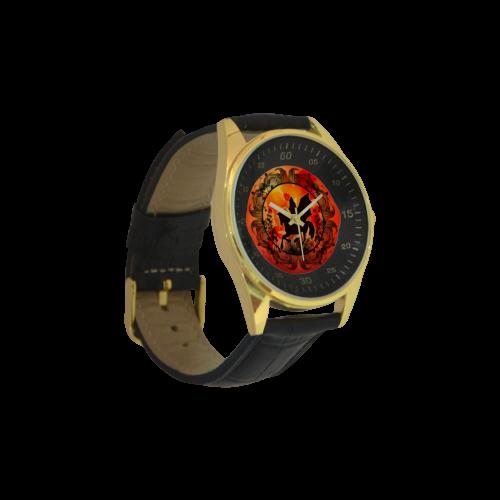 Wonderful black unicorn silhouette Men's Golden Leather Strap Watch(Model 210)