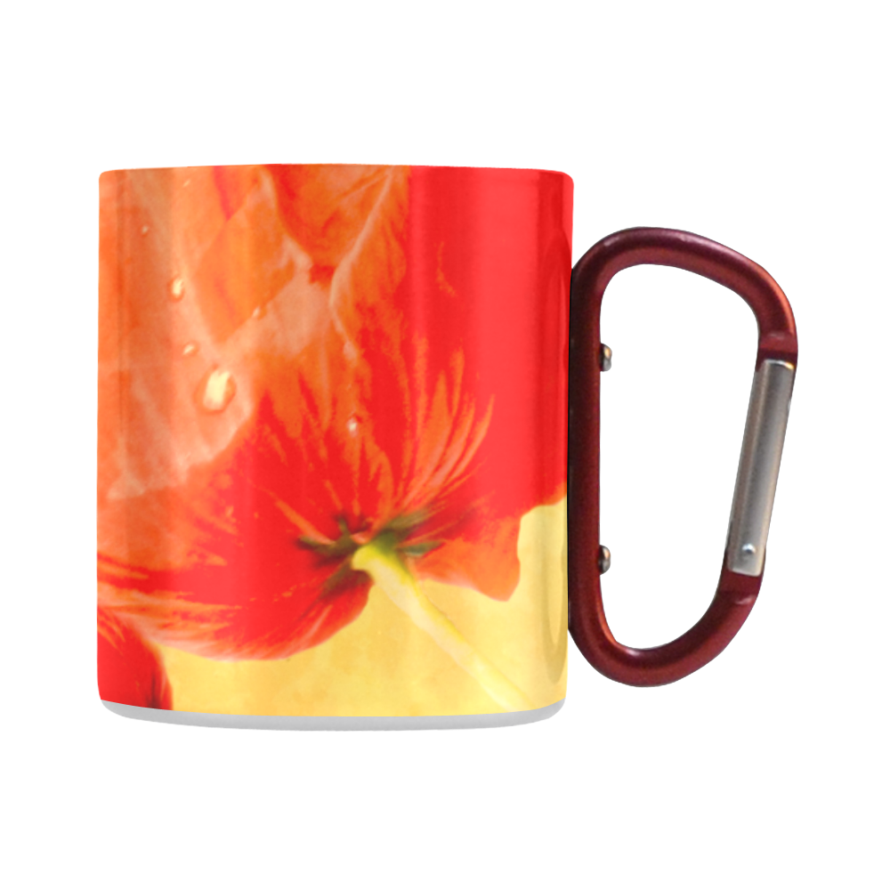 Poppy Summer Red Gold Art Design Classic Insulated Mug(10.3OZ)
