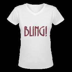 Red Sequin-Look BLING Women's Deep V-neck T-shirt (Model T19)