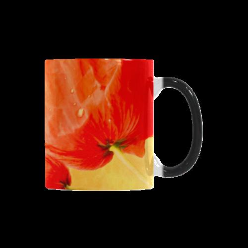 Poppy Summer Red Gold Art Design Custom Morphing Mug