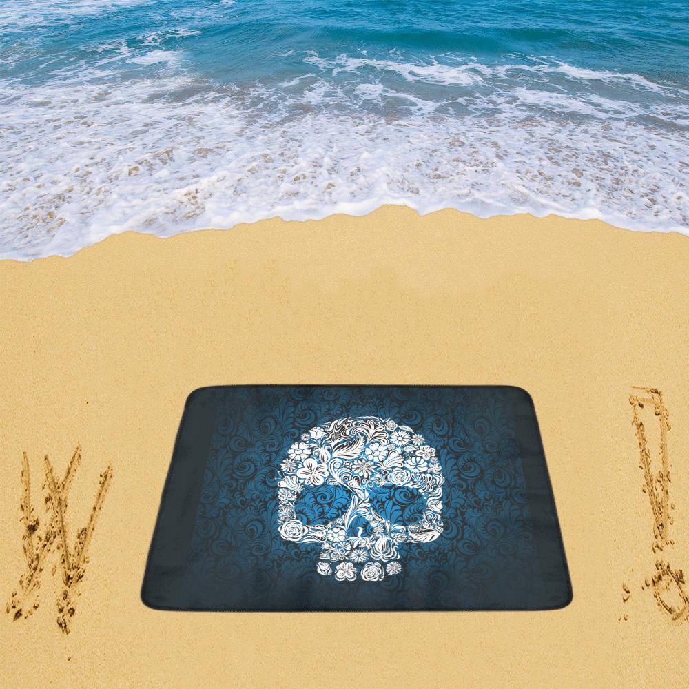 """Floral Skull Beach Mat 78""""x 60"""""""