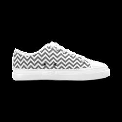 HIPSTER zigzag chevron pattern white Women's Canvas Zipper Shoes (Model 001)