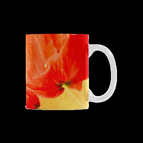 Poppy Summer Red Gold Art Design White Mug(11OZ)