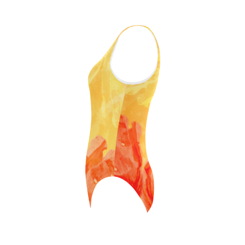 Poppy Summer Red Gold Art Design Vest One Piece Swimsuit (Model S04)