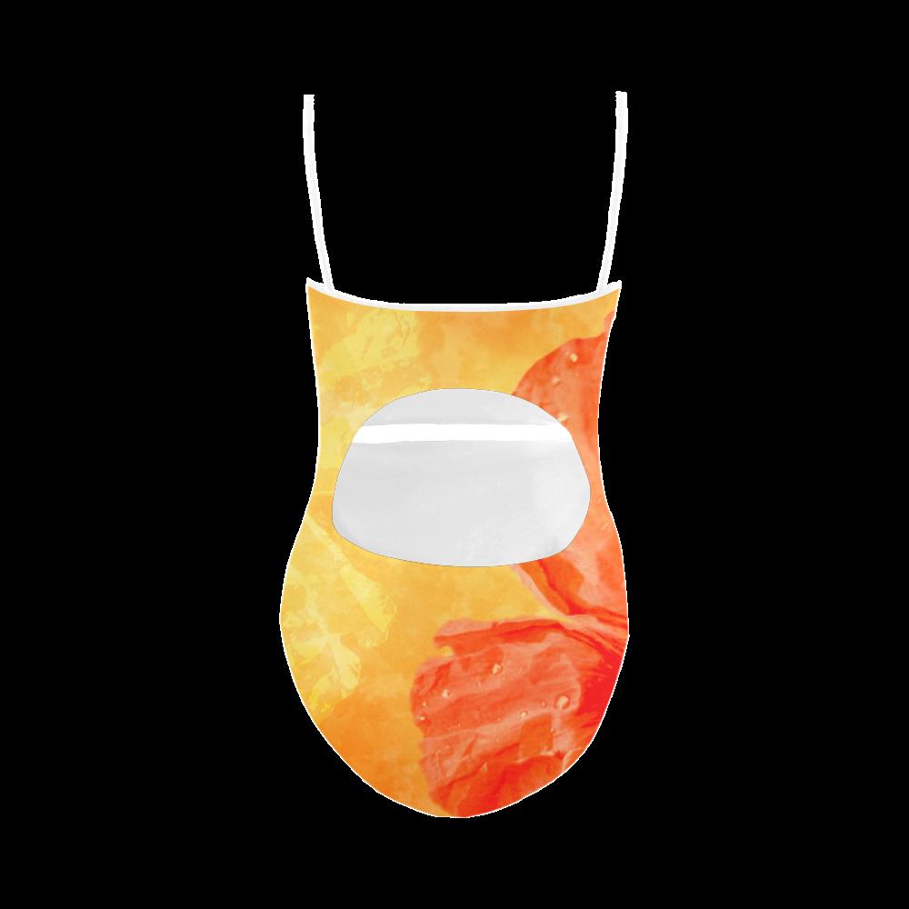 Poppy Summer Red Gold Art Design Strap Swimsuit ( Model S05)