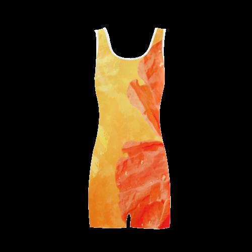 Poppy Summer Red Gold Art Design Classic One Piece Swimwear (Model S03)