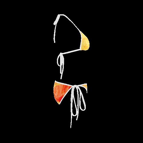 Poppy Summer Red Gold Art Design Custom Bikini Swimsuit