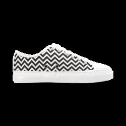 HIPSTER zigzag chevron pattern black & white Women's Canvas Zipper Shoes (Model 001)