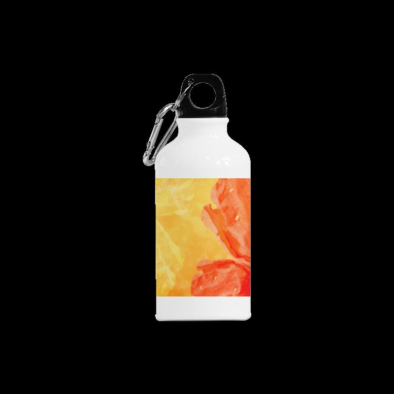 Poppy Summer Red Gold Art Design Cazorla Sports Bottle(13.5OZ)