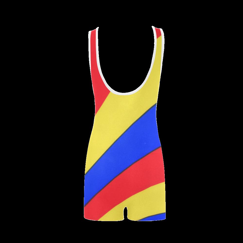 Stripes Yellow Blue Red Classic One Piece Swimwear (Model S03)