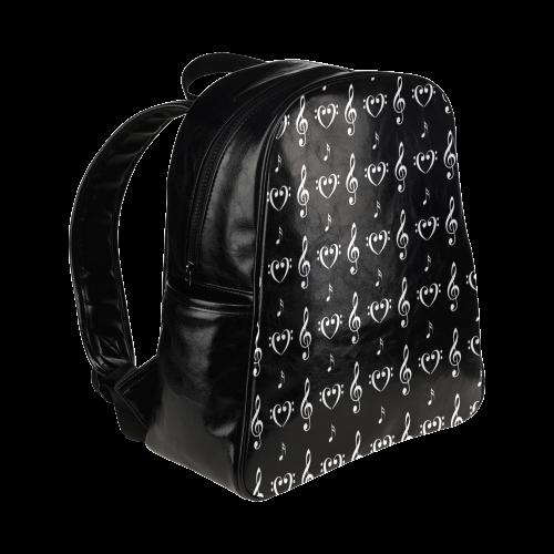 White on Black Musical Multi-Pockets Backpack (Model 1636)