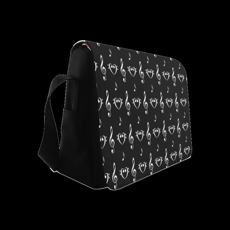 White on Black Musical Messenger Bag (Model 1628)