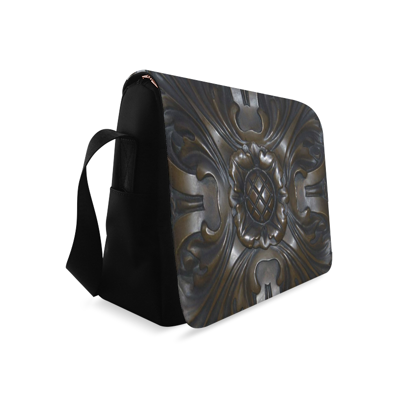 Dark Flower Tile Messenger Bag (Model 1628)