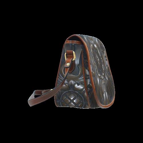 Dark Flower Tile Saddle Bag/Large (Model 1649)