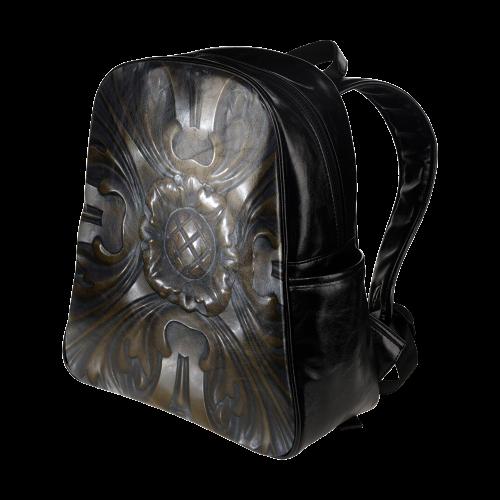 Dark Flower Tile Multi-Pockets Backpack (Model 1636)