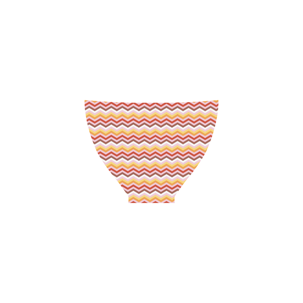 Orange Red White trendy Modern Zig Zag Chevron Custom Bikini Swimsuit