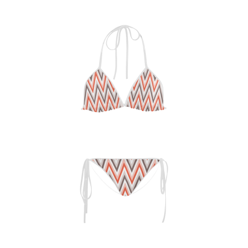Trendy Modern Red Grey White Zig Zag Chevron Custom Bikini Swimsuit