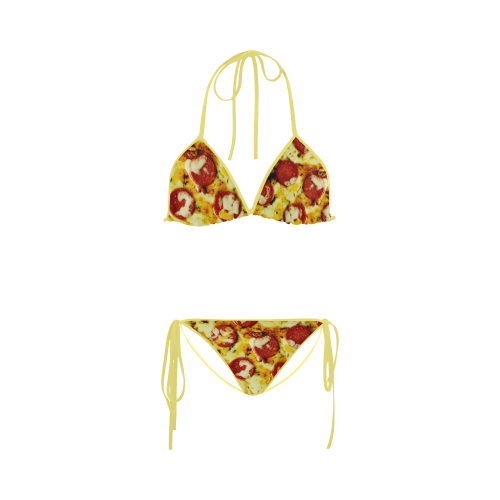 Novelty Cheesy Pepperoni Pizza Custom Bikini Swimsuit
