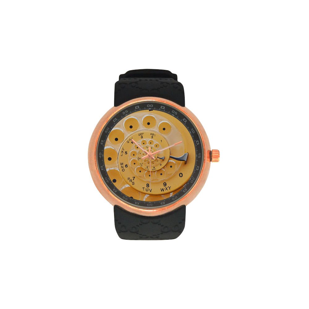 Retro Vintage Yellow Rotary Dial Spiral Droste Men's Rose Gold Resin Strap Watch(Model 308)