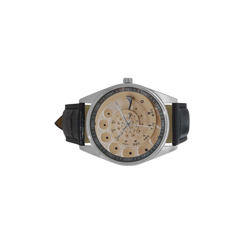 Retro Vintage Tan Rotary Dial Spiral Droste Men's Casual Leather Strap Watch(Model 211)