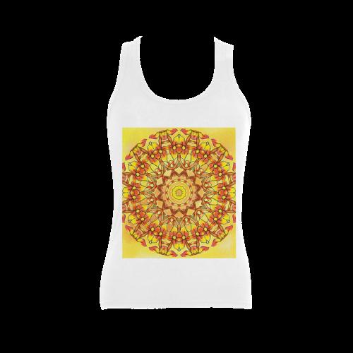 Orange Yellow Sunflower Mandala Red Zendoodle Women's Shoulder-Free Tank Top (Model T35)
