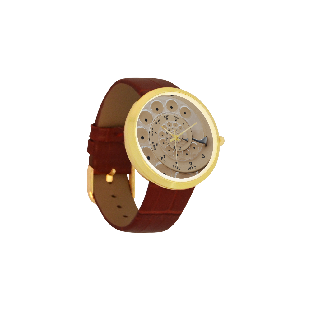 Retro Vintage Tan Rotary Dial Spiral Droste Women's Golden Leather Strap Watch(Model 212)