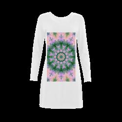 Rose Pink Green Explosion of Flowers Mandala Demeter Long Sleeve Nightdress (Model D03)