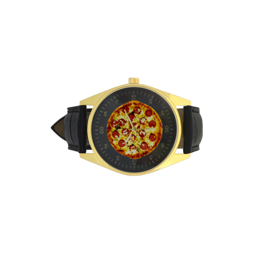 Novelty Cheesy Pepperoni Pizza Men's Golden Leather Strap Watch(Model 210)