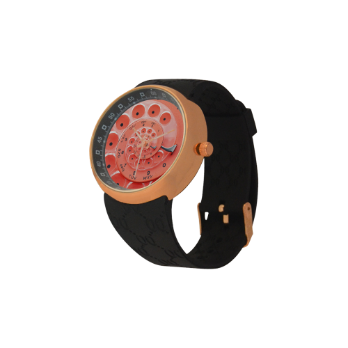 Retro Vintage Apricot Rotary Dial Spiral Droste Men's Rose Gold Resin Strap Watch(Model 308)