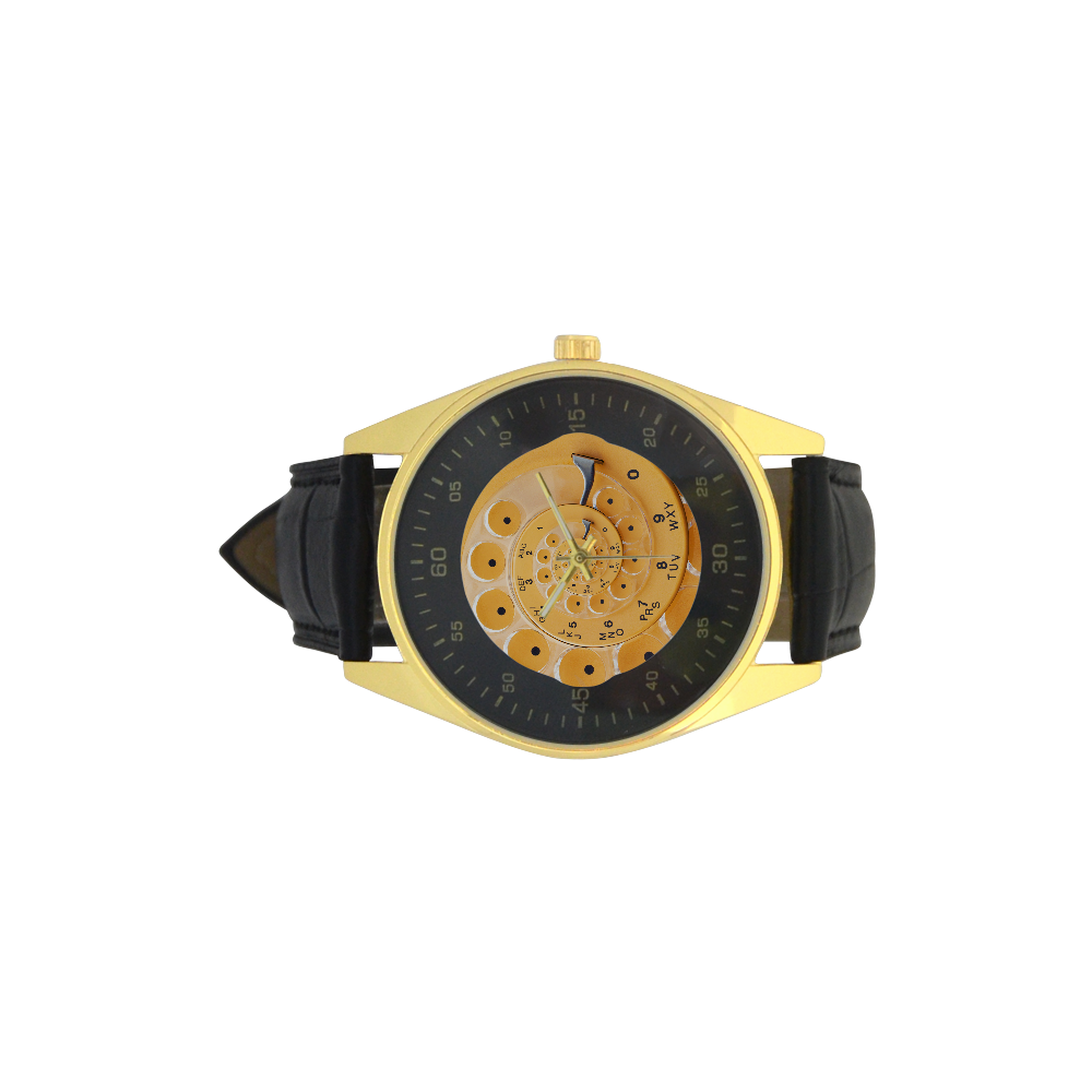 Retro Vintage Yellow Rotary Dial Spiral Droste Men's Golden Leather Strap Watch(Model 210)