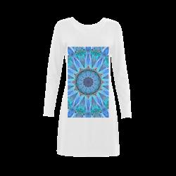 Sapphire Ice Flame, Cyan Blue Crystal Wheel Demeter Long Sleeve Nightdress (Model D03)