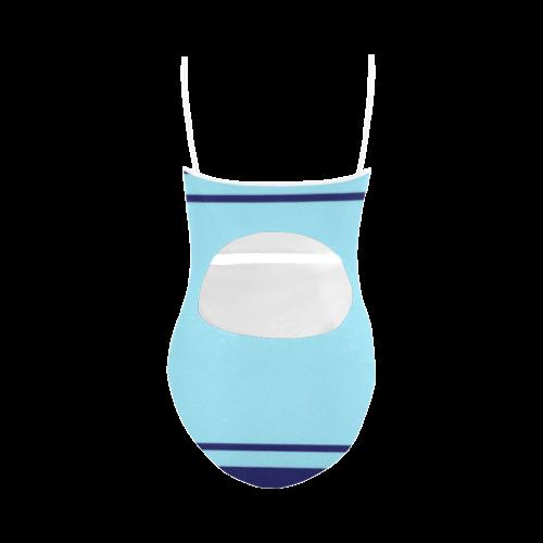 Ribbon Blue Lightblue Twoface Strap Swimsuit ( Model S05)