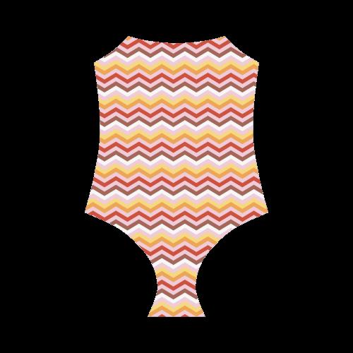 Orange Red White trendy Modern Zig Zag Chevron Strap Swimsuit ( Model S05)
