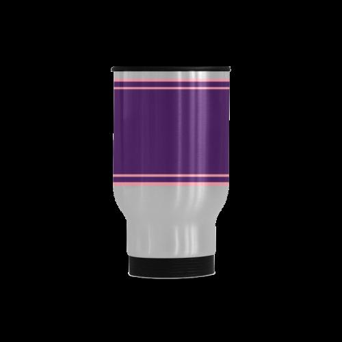 Lilac Pink Ribbon your Name Travel Mug (Silver) (14 Oz)