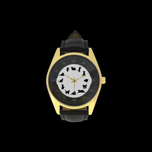 Conceptual Novelty Cat O'Clock Men's Golden Leather Strap Watch(Model 210)