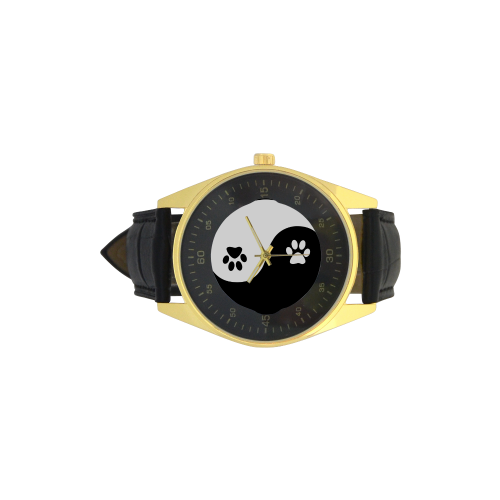 Cute Paw Yin Yang Men's Golden Leather Strap Watch(Model 210)