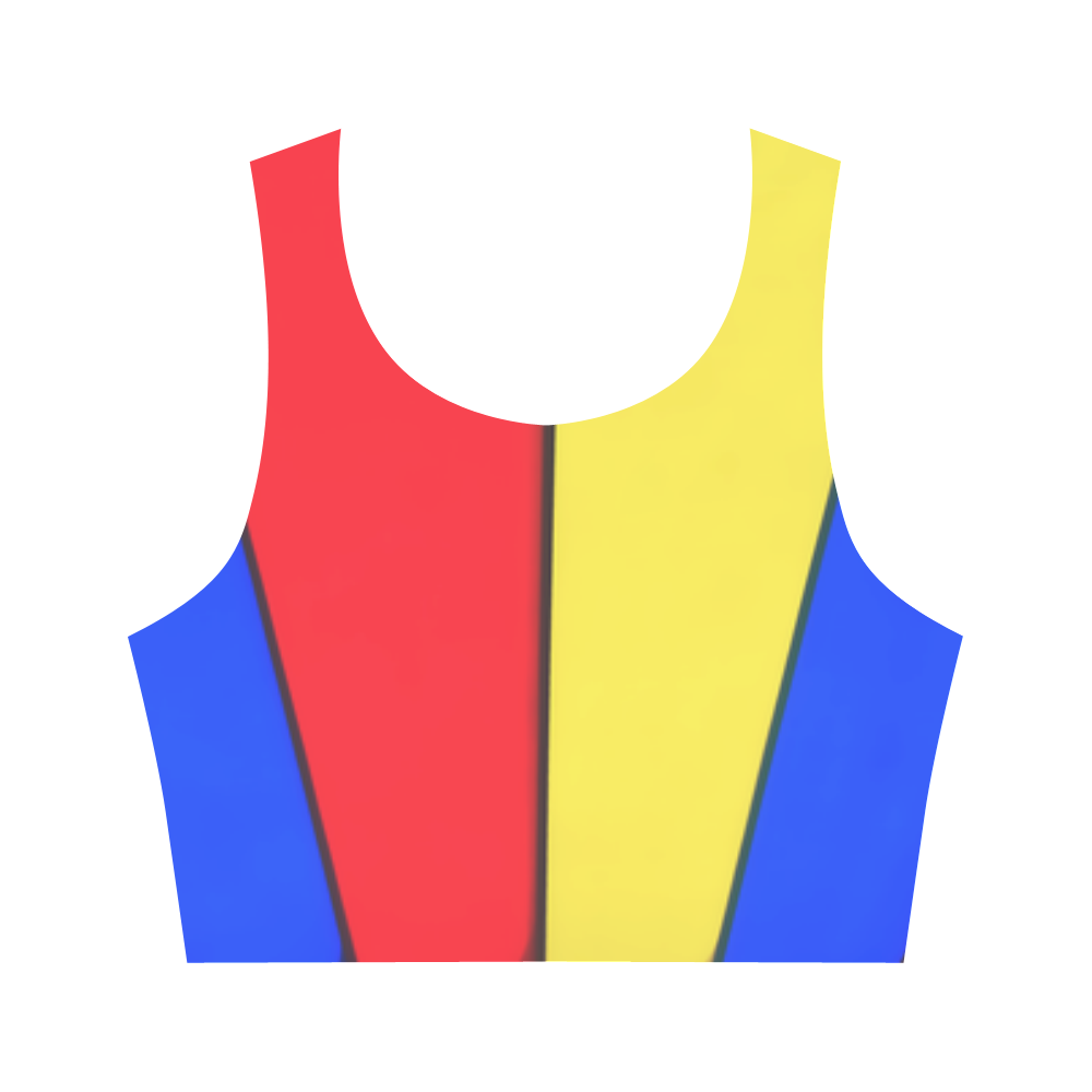 Stripes Yellow Blue Red Women's Crop Top (Model T42)