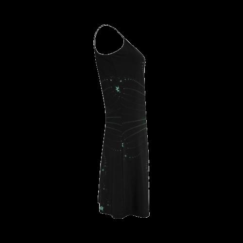 Teal Flower Burst Alcestis Slip Dress (Model D05)