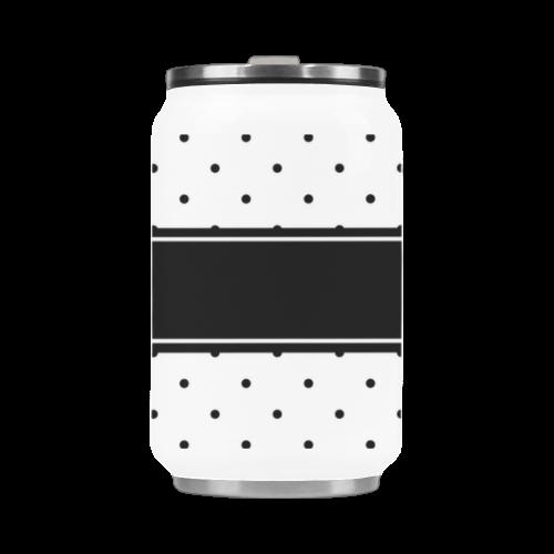 Black White Dots Ribbon Name Stainless Steel Vacuum Mug (10.3OZ)