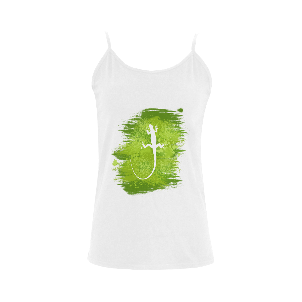 Green Lizard Painting Shape Women's Spaghetti Top (USA Size) (Model T34)