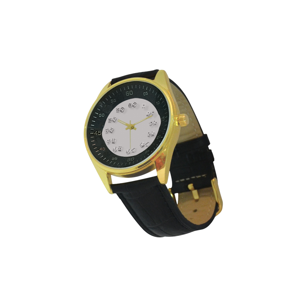 Conceptual Dice Men's Golden Leather Strap Watch(Model 210)