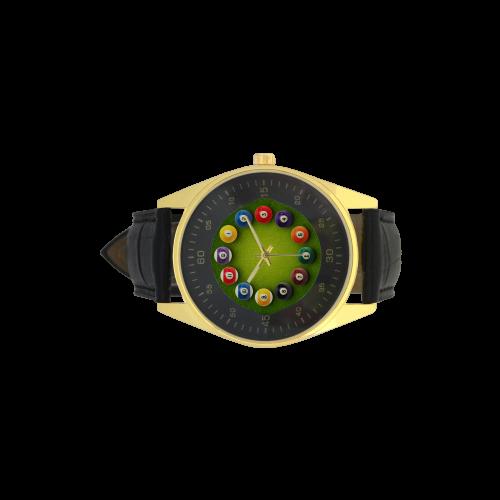 Conceptual Billiards Pool Balls Men's Golden Leather Strap Watch(Model 210)