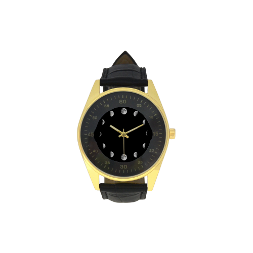 Conceptual Moon Phases Men's Golden Leather Strap Watch(Model 210)