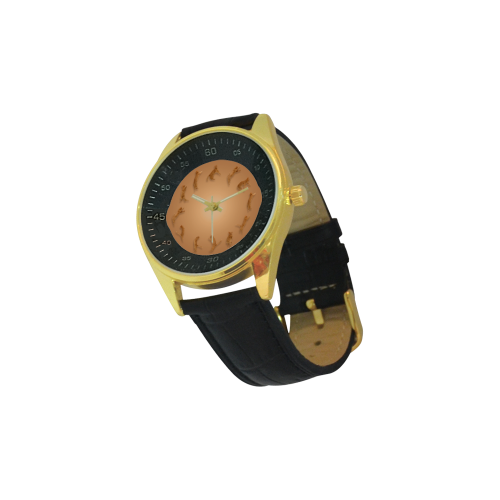 Conceptual Cat O'Clock Jumping Cats Men's Golden Leather Strap Watch(Model 210)