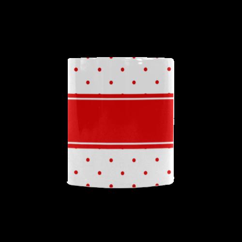 Red Dots Ribbon Design Your Name White Mug(11OZ)