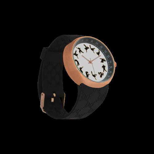 Conceptual Novelty B Boy Break Dancer Men's Rose Gold Resin Strap Watch(Model 308)
