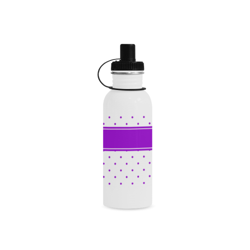 Lilac Dots Ribbon Design Your Name Manchester Sports Bottle(22OZ)
