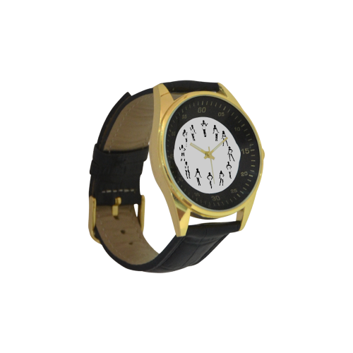 Conceptual Novelty Sexy Dancer Men's Golden Leather Strap Watch(Model 210)